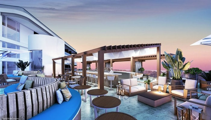 the pointe luxury condo rooftop patio, bahamas
